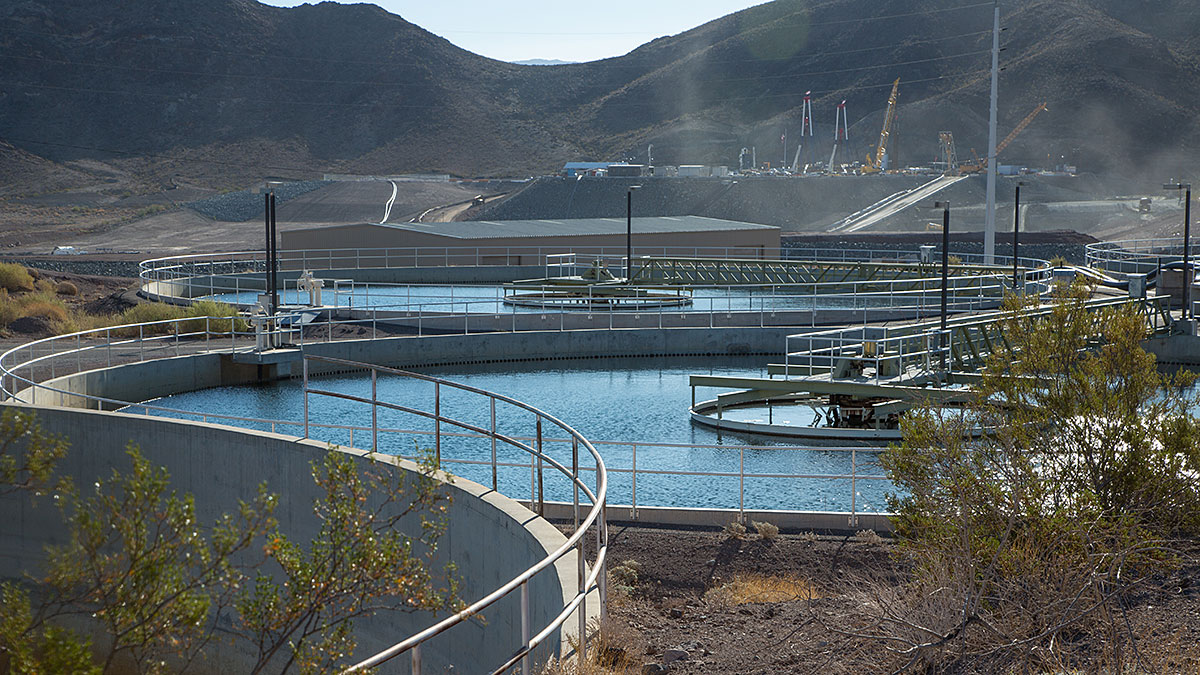 The treatment pools at Alfred Merritt Water Treatment Facility