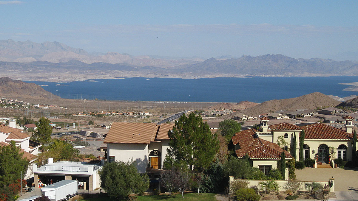 Boulder City with Lake Mead in the background