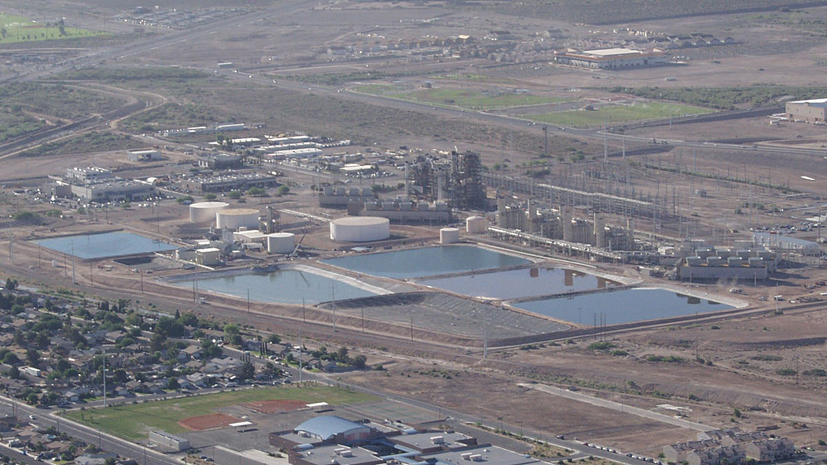 An aerial view of the Clark County Water Reclamation District