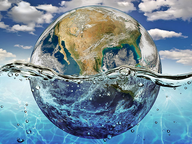Illustration of earth floating in water