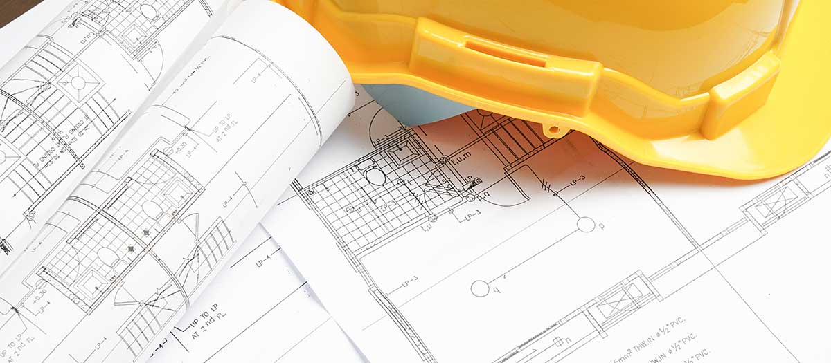 construction drawings, yellow hard hat