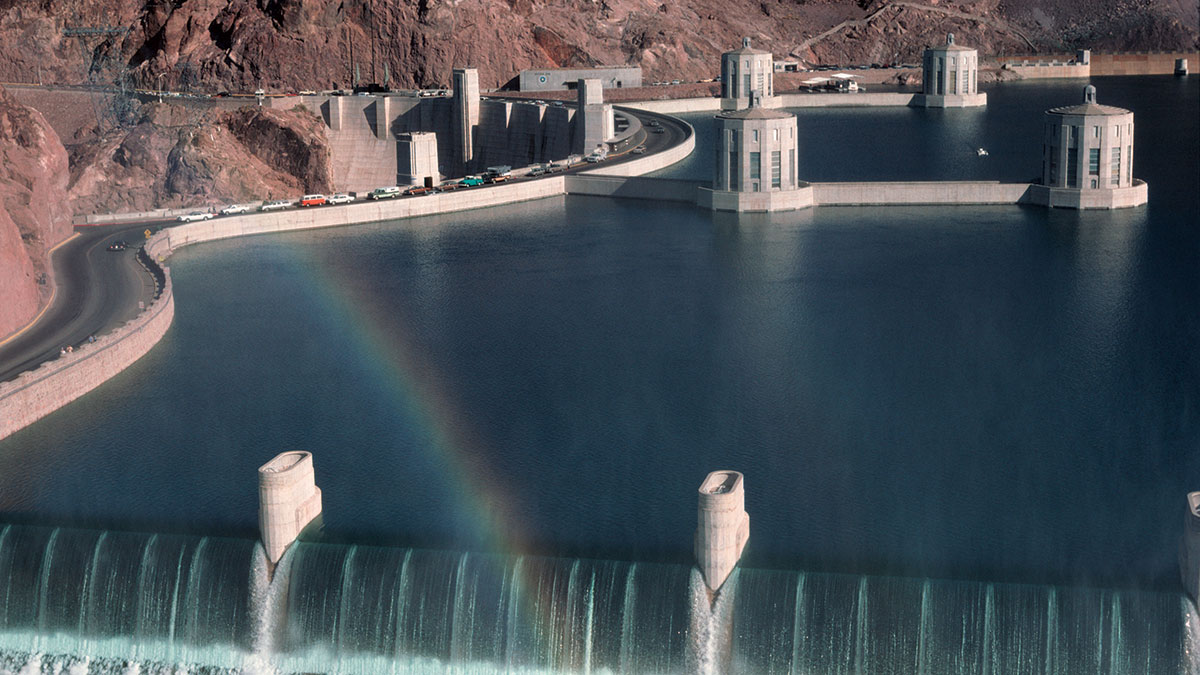 A view of the spillway at Hoover Dam in 1983