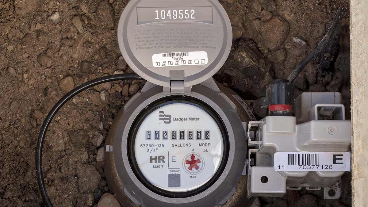 close up of a water meter