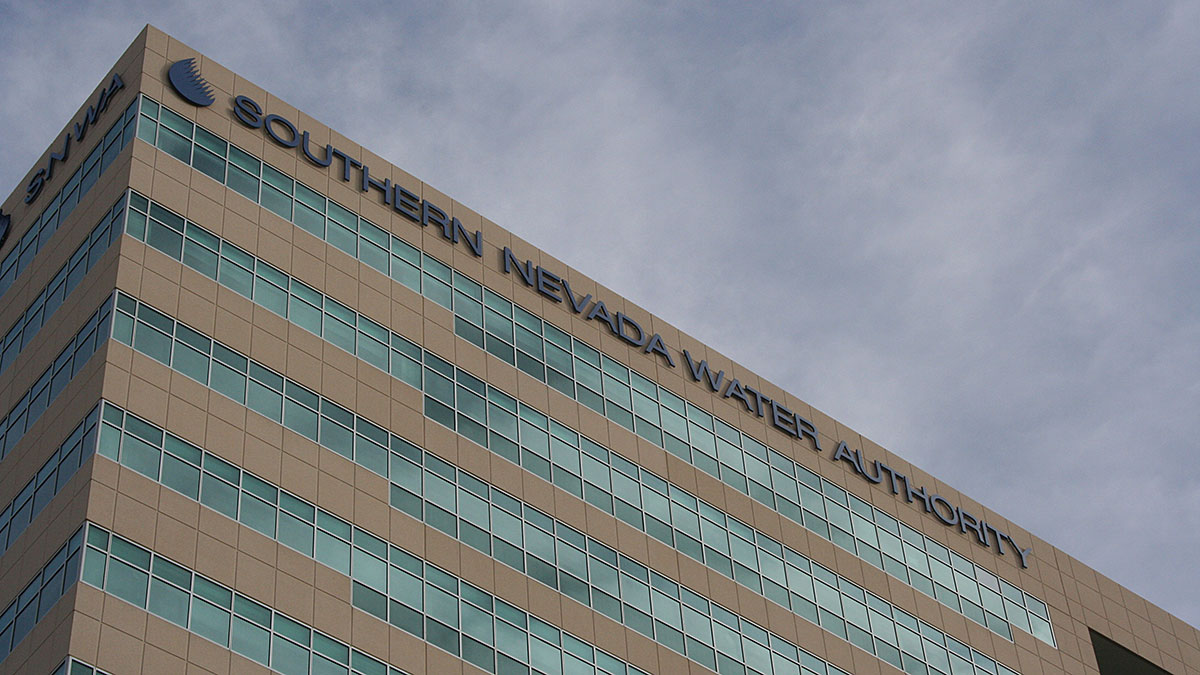 The Southern Nevada Water Authority sign as seen at the top of the Molasky Corporate Center building
