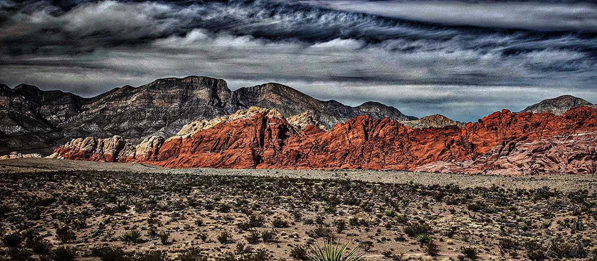 The red rock mountains set the backdrop to a desert landscape