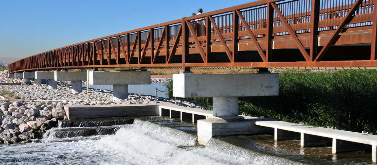 Upper Diversion Weir near the Clark County Wetland Park Visitors Center.