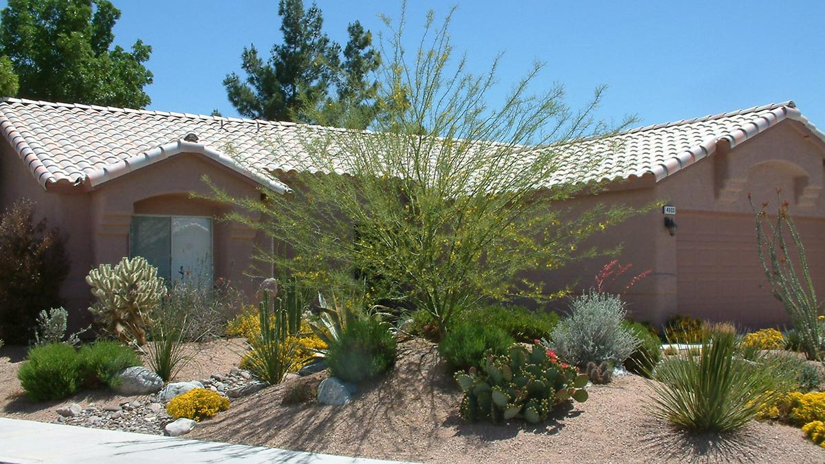 Residence with xeriscape in front yard.